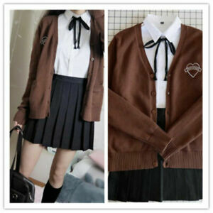 Japanese-Women-School-Girl-Uniform-Student-Girl-Cardigan-Sweater-Outfit-Full-Set