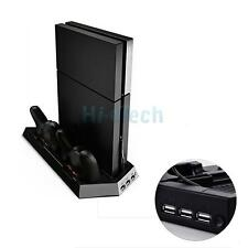 Cooling Fan Vertical Stand + 2 Controller Charging Dock for Sony PS4 US Ship