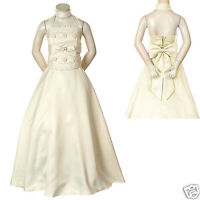 Girl Pageant Bridesmaid Evening Flower Formal Dress Size 6 8 10 12 14 16 Ivory