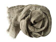 Leinen Schal mit Fransen aus 100% gewaschenem  Leinen (48 x 170 cm) stone/grau