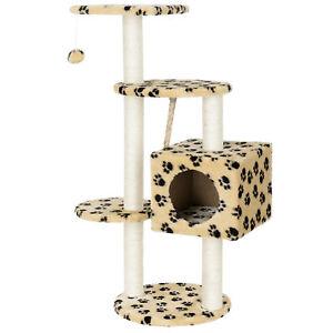 [en.casa]® Rascador para gatos de diseño crema árbol escalador para arañar sisal