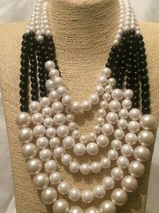 Womens Statement Long Big Large Black Beaded Multi Layered Chain Bib Necklace UK