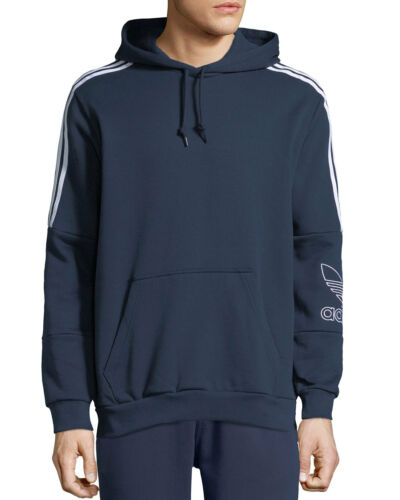 NWT Adidas Men/'s Outline Graphic Logo Hoodie Navy DH5779 $100 E56