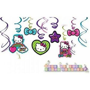 Hello Kitty Rainbow Hanging Swirl Decorations 12 Birthday Party