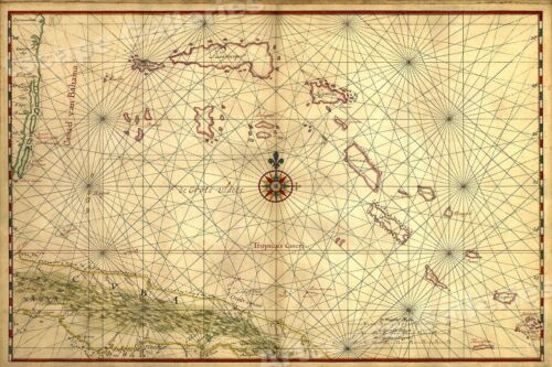 Cuba 1650 Map of the Caribbean Ocean Bahamas 16x24