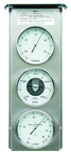 Fischer Wetterwarte außen,Barometer,Thermometer,Hygrometer,Edelstahl,803-01