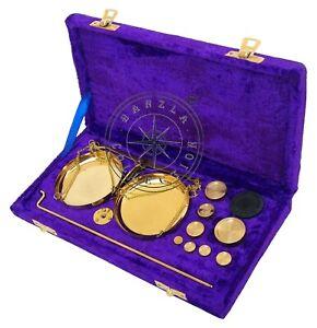 Vintage Antique Brass jewellery Scale W//Velvet Box /& Complete Set Weight Balance