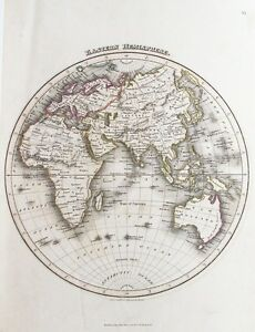 Old Antique Map World Eastern Hemisphere C1820 S By Wyld Hewitt