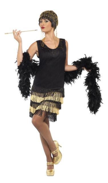 LADIES BLACK 20s FRINGED FLAPPER COSTUME WOMENS 20s GATSBY SHOW GIRL FANCY DRESS