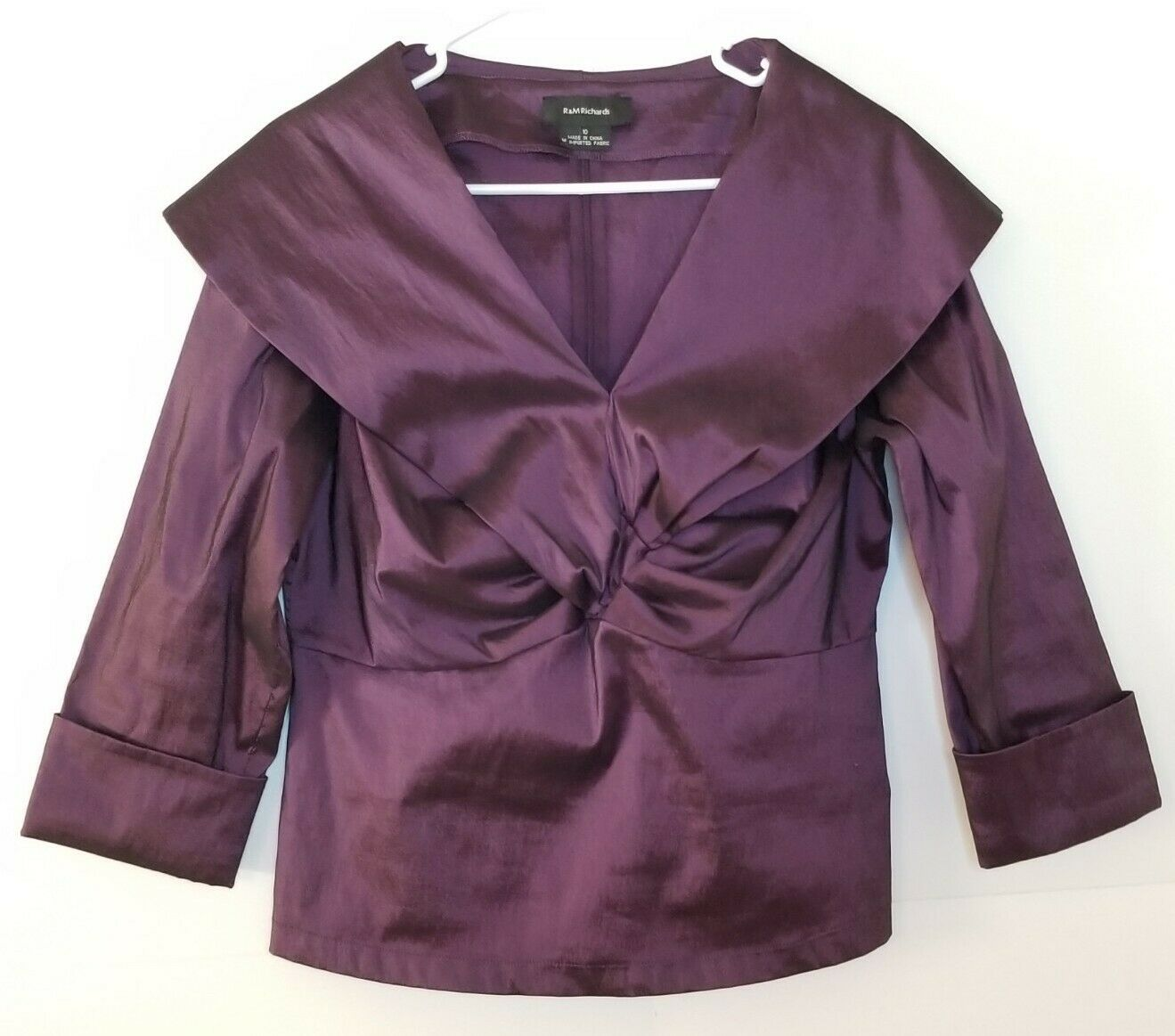 R&M Richards Evening Wear Lg Collar 3/4 Sleeve Back Zip Top Womens Sz 10 Purple