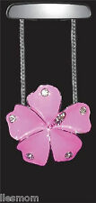 Pink Enamel Hibiscus Flower with Crystals Rear View Mirror Auto Car Ornament