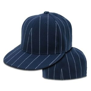 c088f5fcdd6cb Image is loading Navy-Blue-Pin-Stripe-Pinstripe-Flat-Fitted-Baseball-
