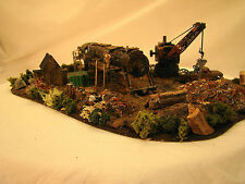 Steam Engine Wrecking Yard Diorama - custom weathered, handcrafted - HO scale
