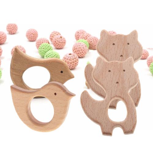 4 Stücke natürliche hölzerne Vogel Katze Form Baby Teether Zahnen