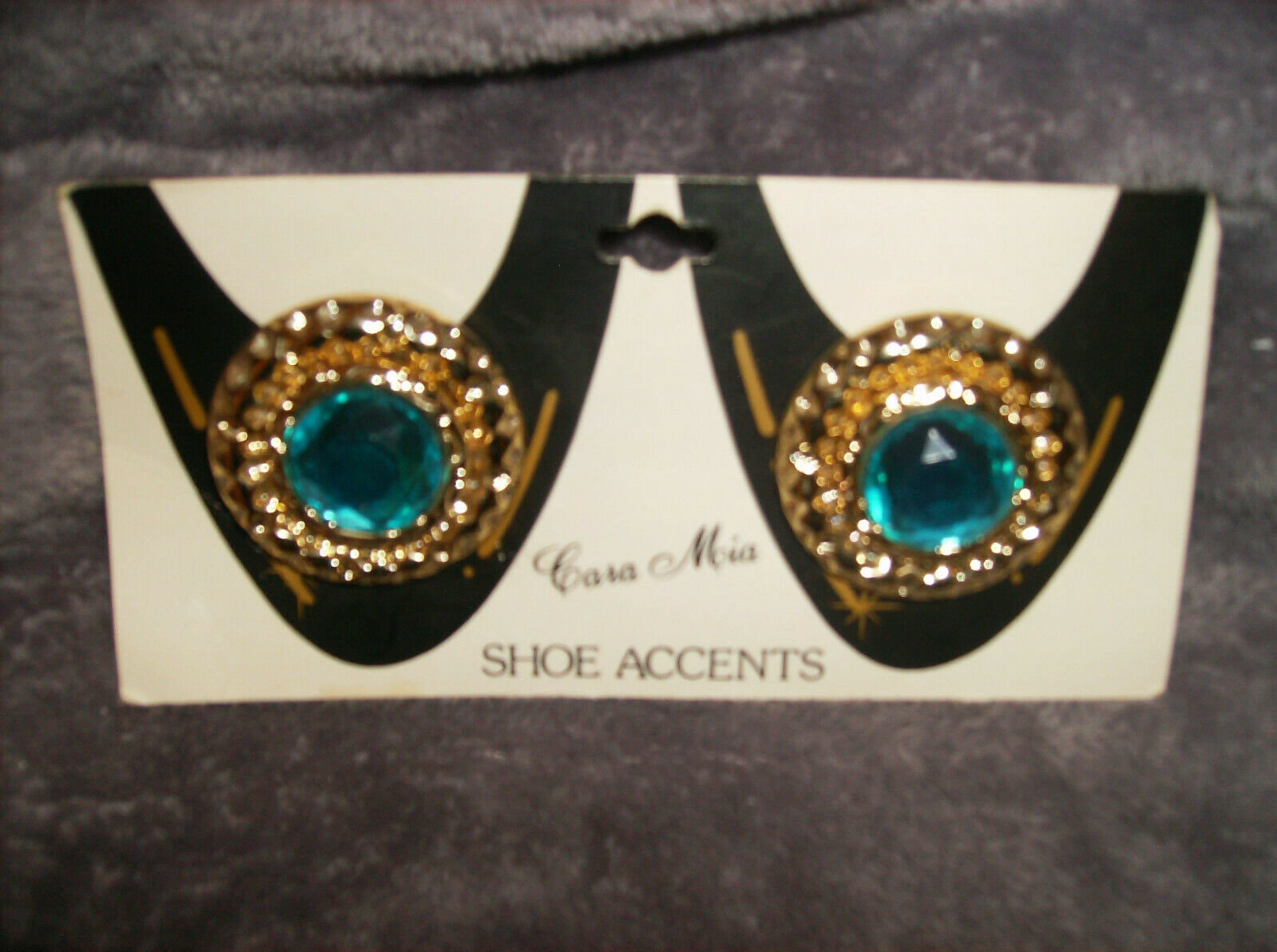 Set/2 TURQUOISE GEM RHINESTONE WITH GOLD CARA MIA Shoe Clips Sale DELUXE NEW #6