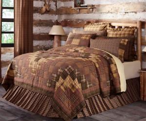 PRESCOTT-QUILT-SET-choose-size-amp-accessories-Rustic-Plaid-Brown-Lodge-VHC-Brands