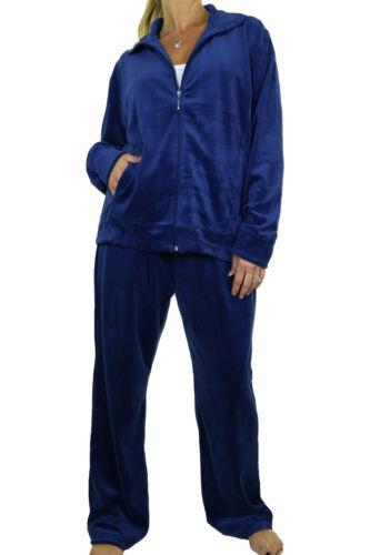 Large Size Full Figure Womens Velour Tracksuit Dark  Navy Blue 18-26 6475-6