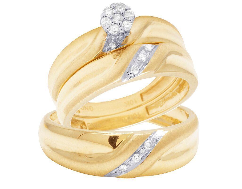 10K Yellow gold Genuine Diamond Cluster Wedding Engagement Trio Ring Set 1 16 Ct