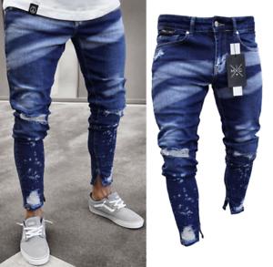 Pantalones Para Hombres De Vestir Elegante Moda Pantalon Vaquero Jeans Rasgados Ebay