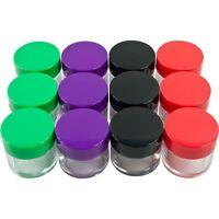 12 Pcs 30g / 30 Gram Large Empty Clear Plastic Cream Makeup Jar 4 Color Lid