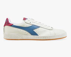 Diadora-Game-L-Low-Waxed-C7709-Scarpe-Uomo-Donna-Bianca-Wht-Coronet-blue-anemone