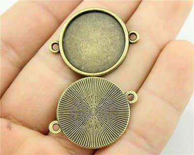 40pcs fit 20mm Cameo Cabochon Bronze or Silver Round Connectors Base Setting