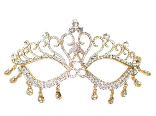 Gold Crystal Rhinestone Quinceanera Mardi Gras Masquerade Eye Mask Wedding