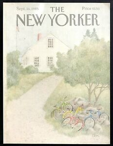 September-16-1985-New-Yorker-Magazine-COVER-ONLY-Rural-Schoolhouse-Bikes-CEM-art