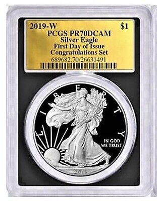 PCGS PR70 DCAM 2017-W American Silver Eagle Proof First Day Issue Gold Foil