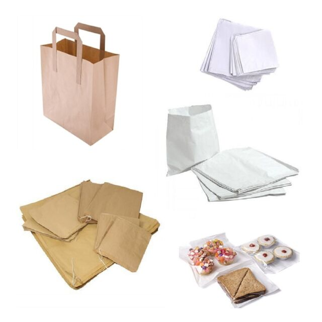 PAPER BAGS White, Brown, Clear, Kraft for Party Wedding Lunch Sweet Food Bags
