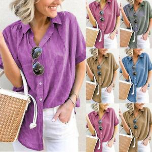 2019-Summer-Fashion-Womens-Stripe-Plus-Size-Short-Sleeve-T-Shirt-Tops-Blouse