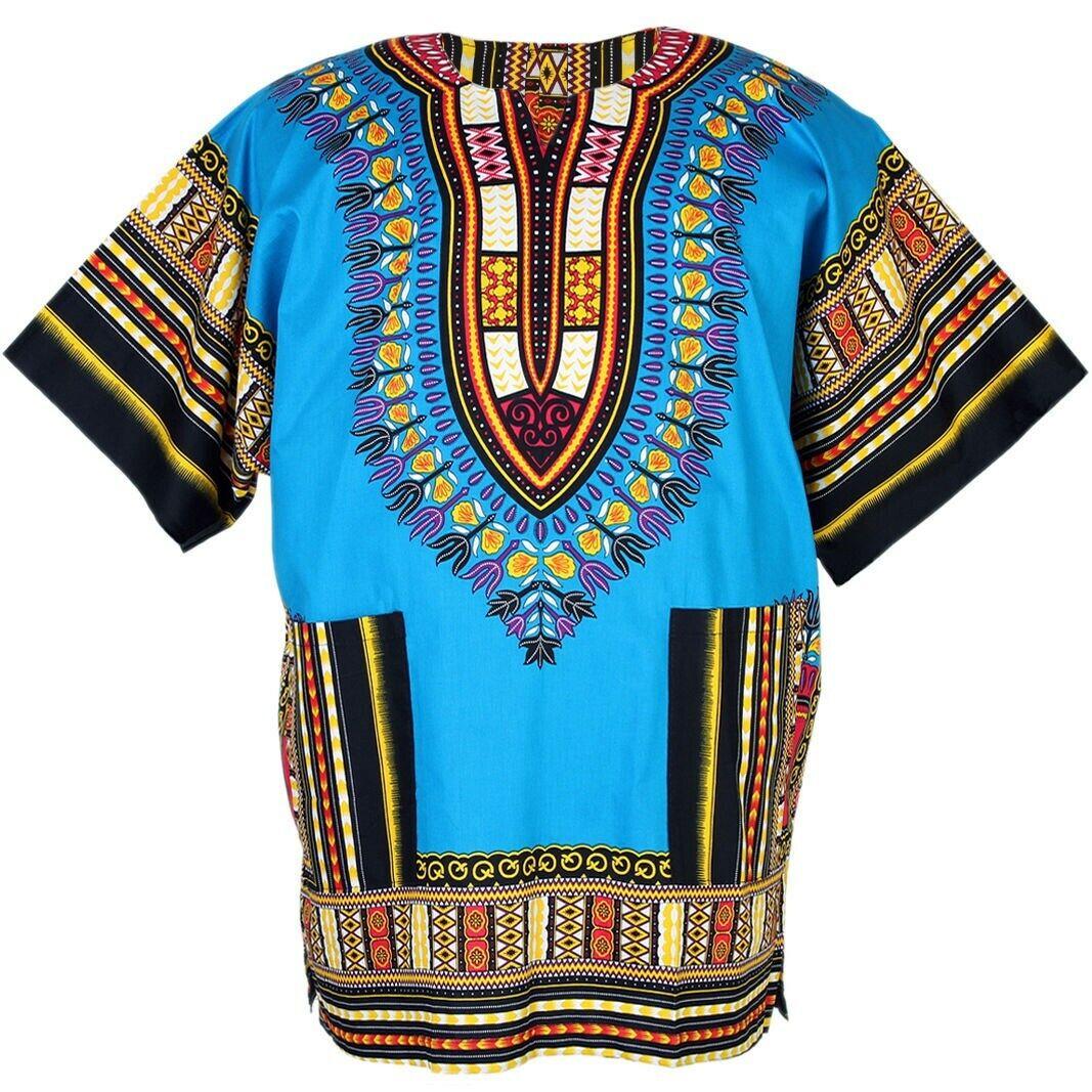 Unisex Dashiki African Tribal Print Caftan Shirt Blue One Size Plus