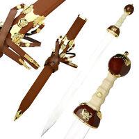 40 Brown & Gold Roman Gladiator Sword Collector's Gladius W/ Leather Sheath