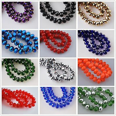 Wholesale 100pcs 6x4mm Rondelle Faceted Glass Crystal Spacer Loose Beads Charms