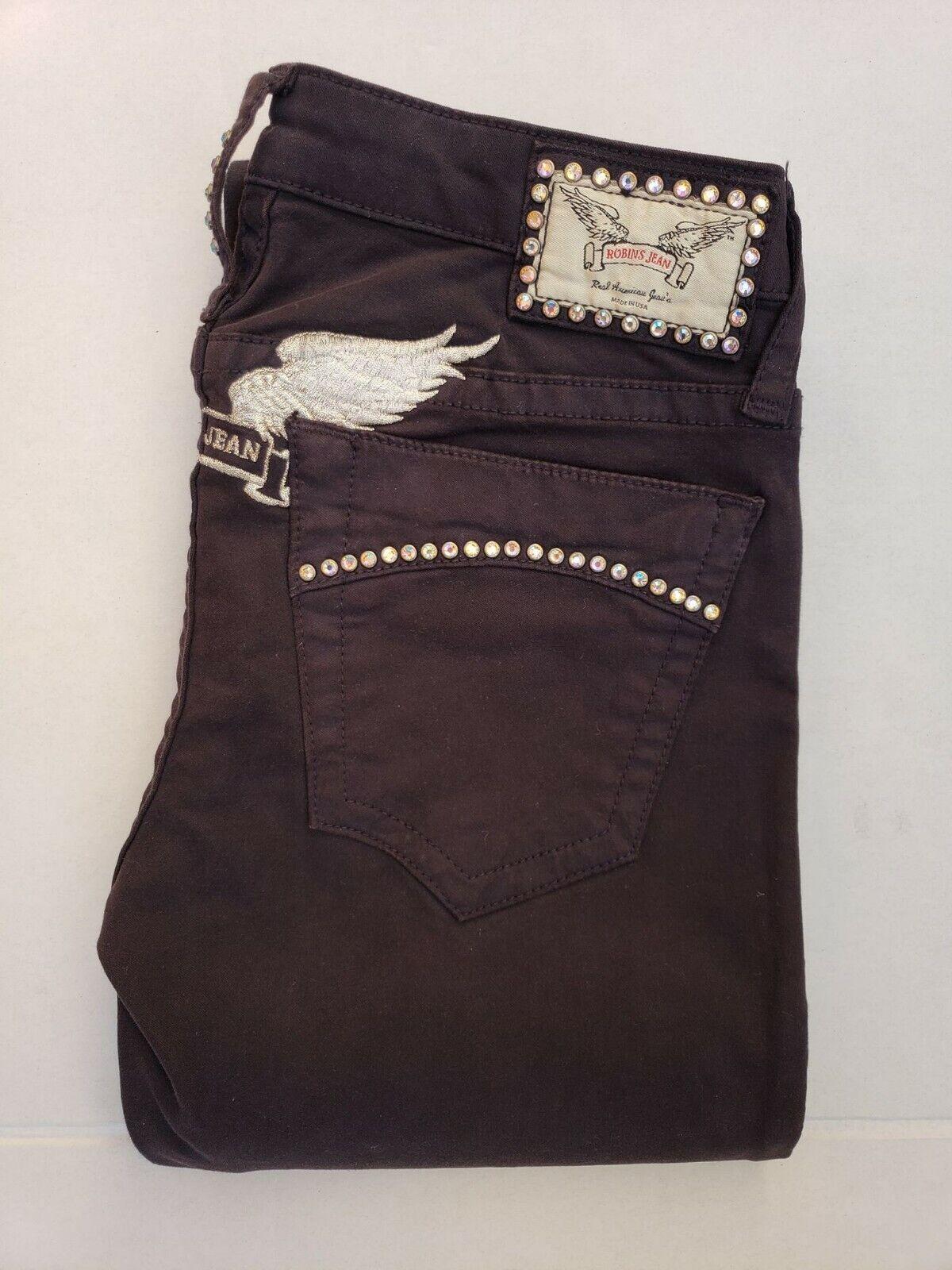 New Women's ROBIN'S JEAN sz 25 Marilyn Straight Leg Jeans - Clear Crystals
