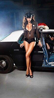 New Womens Police Cop Uniform Chemise Lingerie Hat Set Halloween Costume Dress
