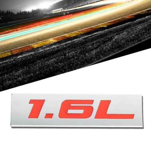 Red//Chrome 1.6L 4mm Sign Logo Rear Trunk Badge Decal Tape Emblem Sticker