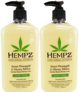 LOT-OF-2-Hempz-SWEET-PINEAPPLE-amp-HONEY-MELON-Herbal-Body-Moisturizer-17-Oz-EA