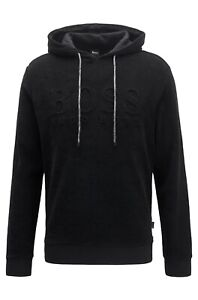 Hugo Boss Men's Hoodie Sweater Relaxed-fit Beach Top Hooded Jacket Black