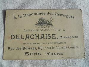 Ancienne Carte De Visite Delachaise Sens 89 Escargots