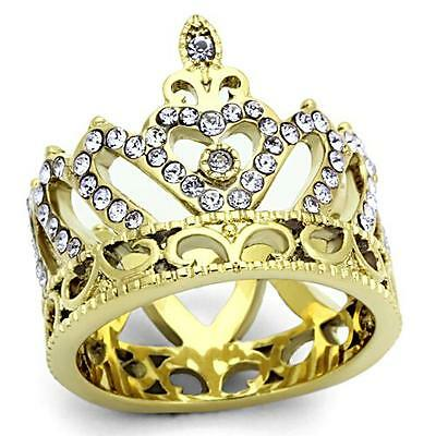 Ladies Crystal Stones Gold Plated Stainless Steel Crown Ring