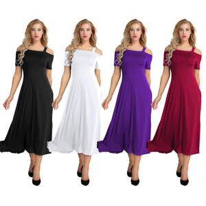 Women's Sexy A-line Cold Shoulder Maxi Evening Party Boho Cocktail Prom Dress