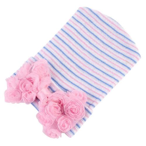 Baby Girl Infant Colorful Striped Hat with Bow Cap Newborn Beanie Head Scarf