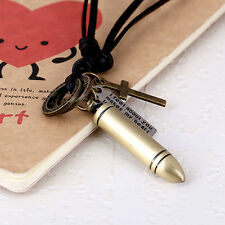 Vintage Charm Cross Bullet Dog Tag Pendant Mens Ladies Leather Necklace Jewelry