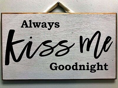 """Rustic Farmhouse ALWAYS KISS ME GOODNIGHT Wood Sign Plaque large home decor 24/"""""""