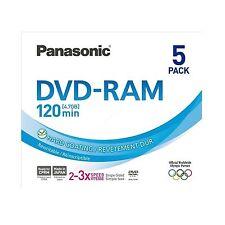 5 Panasonic DVD-RAM 4.7 GB 120 mins(2-3x) Rewritable DVDRAM LM-AF120LE5 Slimline