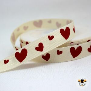1 meter of Ribbon red hearts 9mm off white polyester