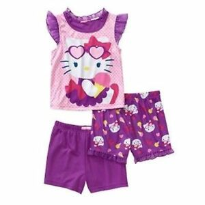 Hello Kitty 3 PC Short Sleeve Pajama Shirt Shorts Set Girl Size 3T