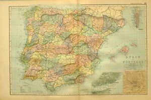 1894 Landkarte Spanien & Portugal Lissabon Madrid Gibraltar Castile Aragon Iviza
