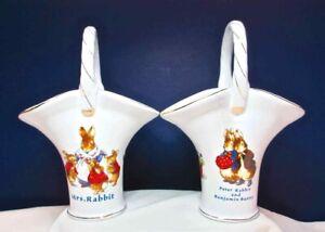 World of Beatrix Potter Peter Rabbit Porcelain Basket Vases Benjamin Bunny